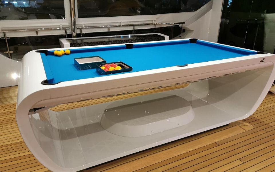 Billiard table on yacht - Luxury boat - Blacklight
