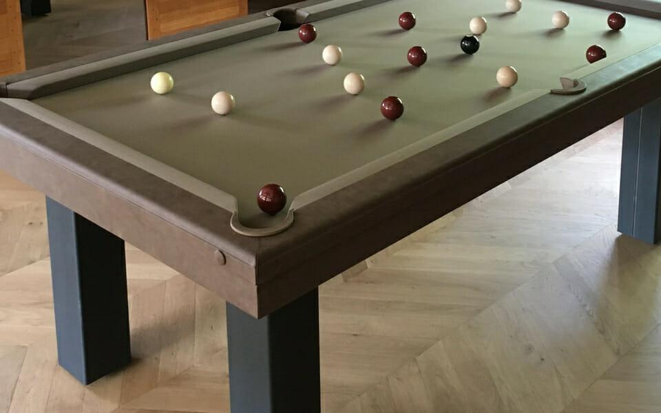 Leather pool table vintage - Billiards Toulet